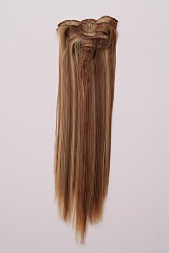 Extensions aus hochwertigem Kanekalon in Blond und Braun B-WARE Haarverlängerung Kunsthaar Haarsträhnen Clip in Extensions 7 Teile