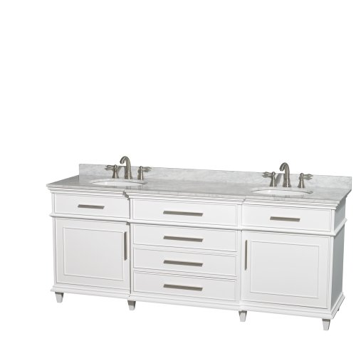 Berkeley Bathroom Vanity - Wyndham Collection Berkeley 80 inch Double Bathroom Vanity in White with White Carrera Marble Top with White Undermount Oval Sinks and No Mirror