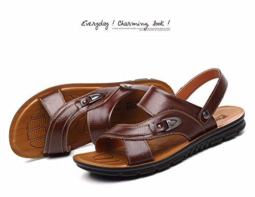 Männer Schuh Breathable echtes Leder Strand Schuh Jugend Sandalen Rindsleder Dual Use Flip Flop Männer Casual Schuhe, braun1, UK = 9,5, EU = 44