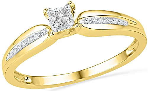 Jewel Tie Size - 5-10k Yellow Gold Princess Cut Diamond Fashion Band OR Engagement Ring Prong Set Solitaire Shaped Ring (1/6 cttw.)