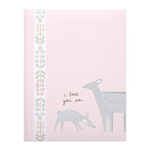 (C.R. Gibson Pink Dear and Fawn 'I Love You So' First Five Years Girl Memory Baby Book by DwellStudio, 64pgs, 10'' W x 11.75'')