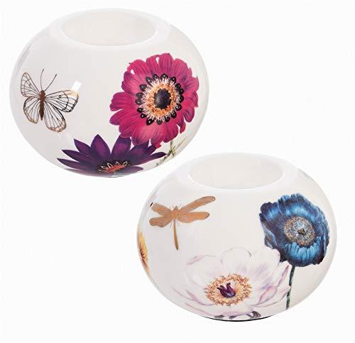 Cypress Home Vivid Bouquet Ceramic Round Tealight Holders, Set of 2