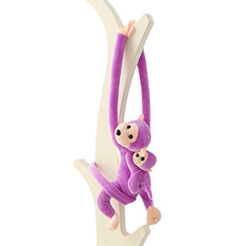 Raylans 2pcs Baby Kids Soft Plush Toy Hanging Long Arm Monkey Stuffed Animal Doll Purple