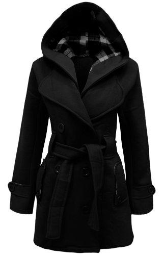 Cexi Couture - Manteau Longue Femme Bouton Ceintur Capuche - Noir, 46