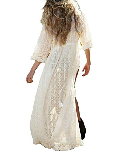 Ailunsnika White Lace Tassel Hollow Out Kimono Cardigan See Through 3/4 Sleeve Open Front Swimwear Cover ()