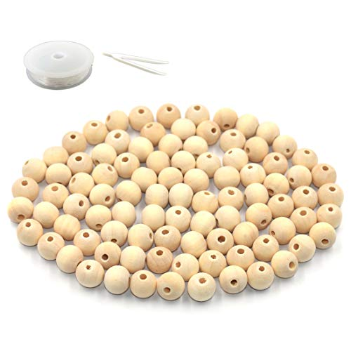 R.FLOWER Natural Wood Beads Round Ball Wooden Loose Beads Unfinished Wood Spacer Beads for DIY Jewelry Making Bracelet Spacer Charms Supplies 500pcs (8mm)