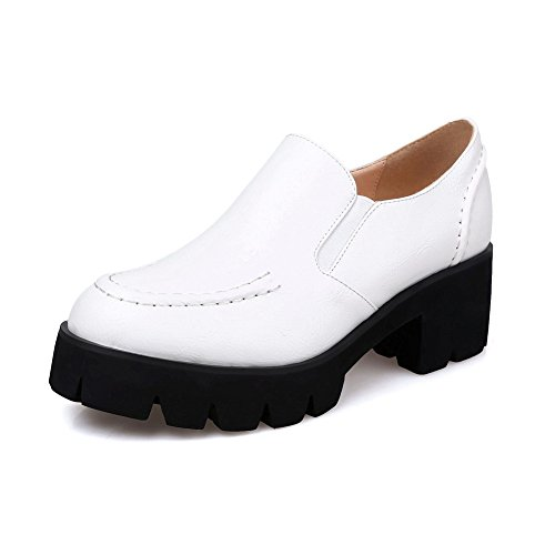 AdeeSu Ladies Chunky Heels Platform Round-Toe Fabric-And-Synthetic Oxfords Shoes White