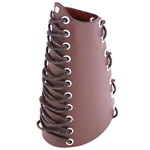 Lace Up Arm Guards (Leather Gauntlet Wristband Wide Bracer Arm Armor Cuff Brown 2PCS)