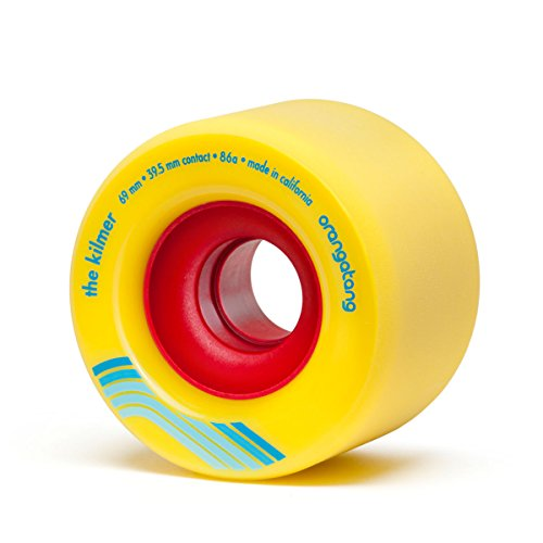 Orangatang Kilmer 69 mm 86a Freeride Longboard Skateboard Wheels (Yellow, Set of 4)