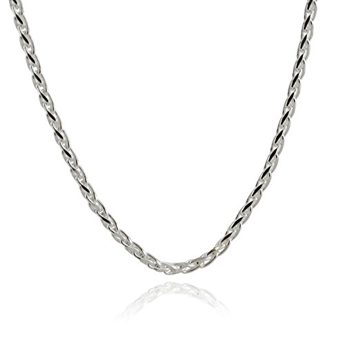 Italian 925 Sterling Silver 3mm Spiga Wheat Chain Necklace - 16, 18, 20, 24, 30 Inches (24)