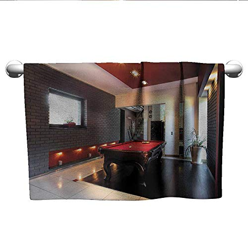 xixiBO Decorative Towel W20 x L20 Modern,House with Snooker Table Hobby Pool Game Flat Furniture Leisure Time Print,Red Brown White Absorbent Fabric Softener Towel