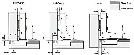 HnFshop Dia 1.5//35mm European Style Half Overlay Hydraulic Hinge for Glass door of Cabinet Kitchen cupboard