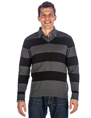 Men's 100% Cotton V-Neck Essential Sweater - Rugby Stripes Black-Gray - (Cotton V-neck Rugby)