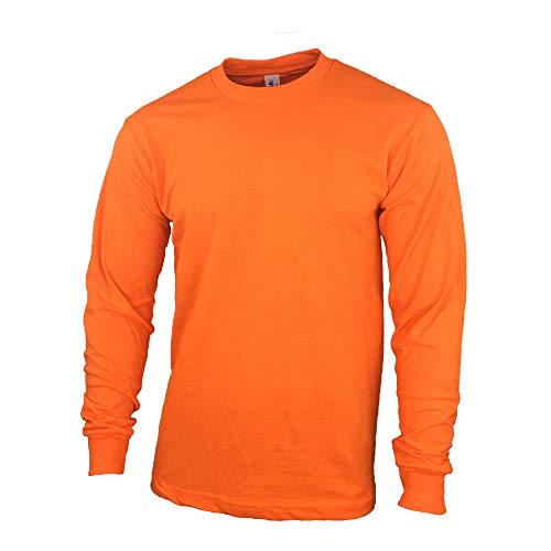 Safety High Visibility Long Sleeve Construction Work Shirts Pack for Men (Safety Orange, XX-Large)