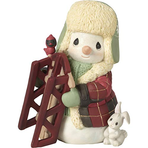(Precious Moments May Your Holidays Be Filled with Winter Thrills 10th Annual Snowman Bisque Porcelain 191015 Figurine, One Size, Multi)