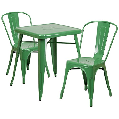 MFO 23.75'' Square Green Metal Indoor-Outdoor Table Set with 2 Stack Chairs