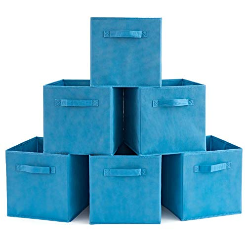 EZOWare Set of 6 Basket Bins Collapsible Storage Organizer Boxes Cube for Nursery Home (Niagara Blue)
