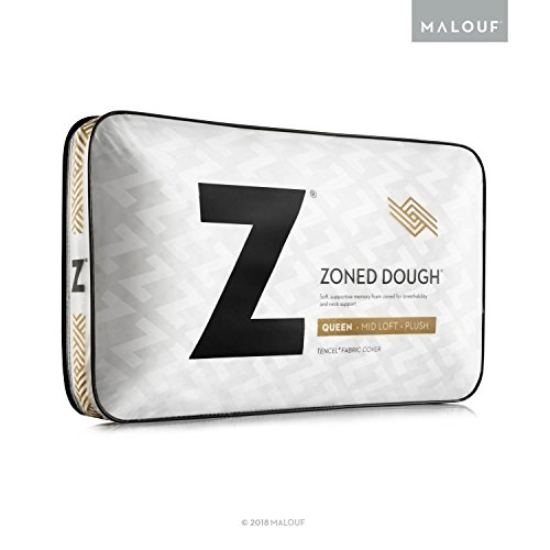 Z Zoned Memory Foam Pillow with Velour Removeable Cover - High Loft, Firm - Queen