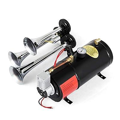 Bestauto Train Horn Compressor 12V Air Horn Kit 150 PSI Air Horn Compressor Tank Capacity 3 Trumpet Super Loud Train Horns Kit for Truck Car Boat: Automotive