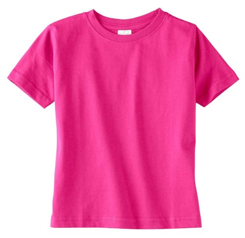 Juniors Baby Jersey T-shirt - Rabbit Skins Toddler Fine Jersey T-Shirt (Hot Pink) (4T)