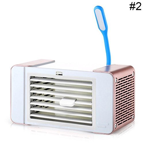 RoseSummer Mini USB Fan Cooler Portable Air Conditioner Humidifier Air Flow Cooling System Room Desktop Air Fan (Rose (Evaporation Cooling System)