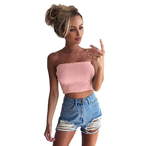 TOPUNDER Crop Tube Tankini Vest for Women Strapless Sexy Ruched Wrap Tank Tops Evening
