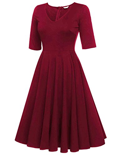 Swing Line Sleeve Beyove A Vintage Dress Women's Dress Burgandy Tea Floral Half Print SqzIwtrzn