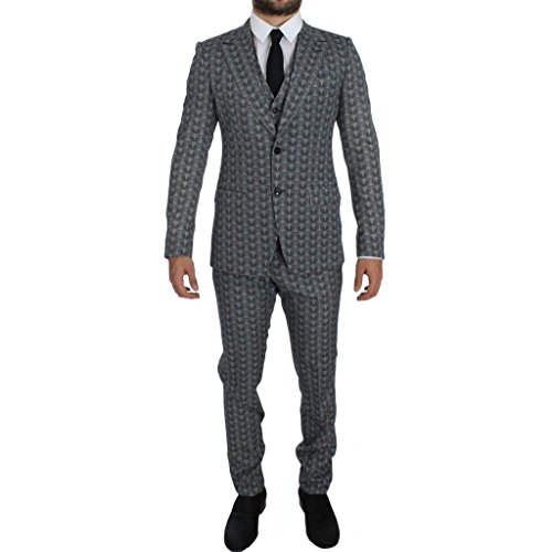 Dolce & Gabbana Blue Wool Owl Print Slim Fit 3 Piece Suit (Suit Print Wool)