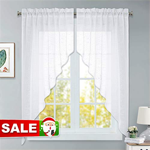 Semi Sheer Curtain Valance Window Topper, Textured Linen Sheer Kitchen Curtain Tier Swag Set, Privacy Half Window Curtains for Bedroom Living Room Bathroom, W 36 x L 63, 2 Panels, White