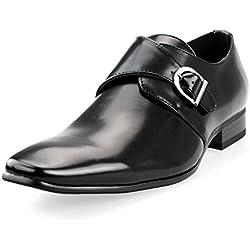 MM/ONE Men's Monkstrap Oxford Shoes Plain Toe Low Cut Shoes Black 40 EU (US Men's 8 M)