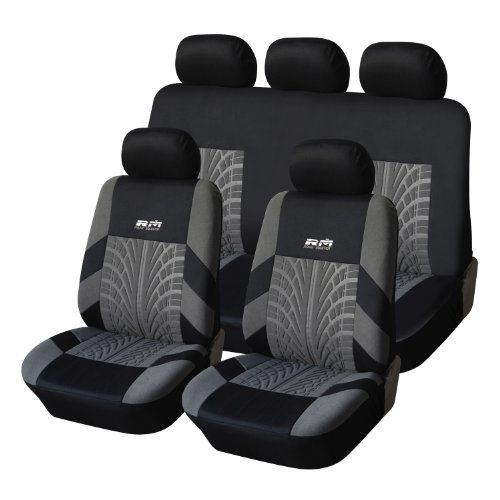 2015 NEW MATERIAL and DESIGN! Adeco [CV0225] 9-Piece Car Vehicle Seat Covers, Universal Fit, Black/Gray Tire Track Decoration