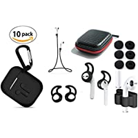 Zotech AirPods Total Accessory Package (10 in 1) Charging Case, Airpods Strap, Airpods Ear Hooks (2 Pair), Carabiner, Holder, Fit-in-Case Cover (3 Pair) and Airpod Accessories Carrying Bag (Black)
