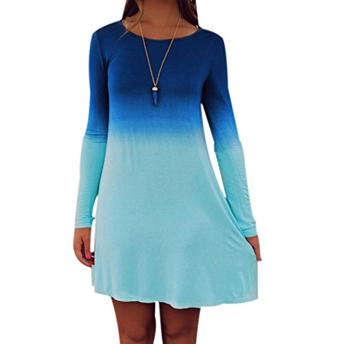 Snowfoller Women Fashion Dyed Long Sleeves Dress Casual O-Neck Above Knee Mini Dress Loose Top - Gradient Color (M, Blue)