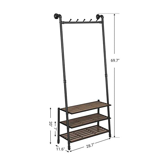 "VASAGLE Coat Rack with Shoe Rack, Industrial Pipe Style Hall Tree, Angled Coat Stand for Hallway Entryway, Standing Against The Wall, Bolt Hooks and Slat Shelves, Stable Metal Frame, Black URCR75BX - INDUSTRIAL STYLE IS IN! Angled black pipes, slat shelves, bolt hooks-a hall tree overflowing with industrial accents makes a unique staple in your hallway while providing a convenient drop-off spot on your way in or out PROP AGAINST THE WALL: A blank wall is all it needs to create an attractive display, and the jackets you throw on it will complete its standout look; prop it against the wall for a stable stand, or attach it to the wall with the included hardware FROM HEAD TO TOE: With a 69.7"" high slanted design tying the whole stand together, it packs plenty of storage without taking too much space, catching hats and coats on the 5 hooks and hosting shoes on the 3 shelves - hall-trees, entryway-furniture-decor, entryway-laundry-room - 41u5qxTa0WL. SS570  -"