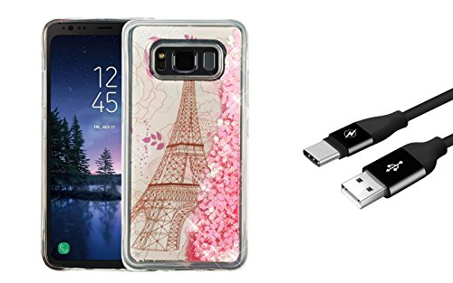Samsung Galaxy S8 Active - Bundle: Liquid Quicksand Glitter Waterfall TPU Gel Case - (Eiffel Tower), Durable Fast Charging USB Type-C (USB-C) Cable [3 Feet] and Atom LED by ATOM