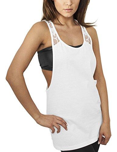 Urban Classics Ladies Flower Laces Loose Tank, Camiseta Sin Mangas Para Mujer Blanco (white 220)