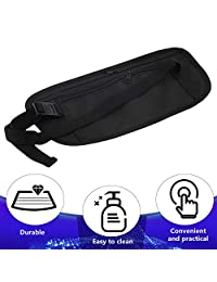 MolywCAwmoly Unisex Compact Cash Travel Passport Ticket Zipper Bag Safety Belt pocketss with Elastic Adjustable Strap Security Waist Belt Bag