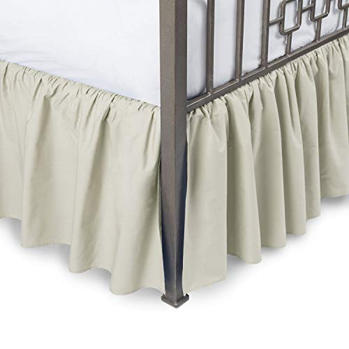 Harmony Lane Ruffled Bed Skirt with Split Corners - Queen, Bone, 21 Inch Drop Bedskirt (Available in and 16 Colors)