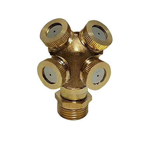 Brass 4 Holes Spray Misting Nozzle Garden Sprinklers Fitting Hose Water Connector Garden Orchard Watering Irrigation Tools
