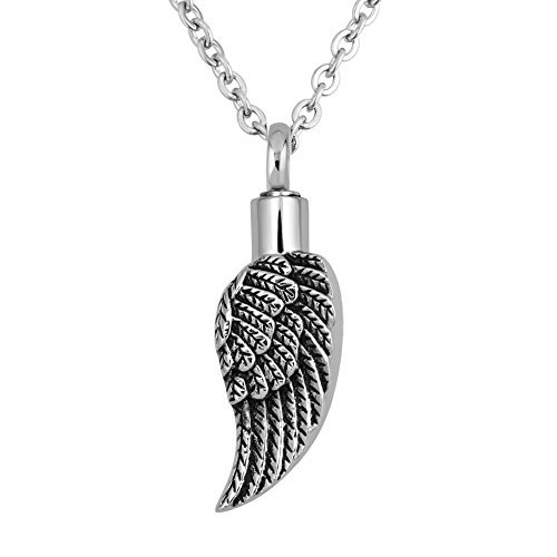 Angel Wing Cremation Necklace URNs For Ashes Holder Memorial Keepsake Pendant Stainless Steel (Angel Wing Urn-4)