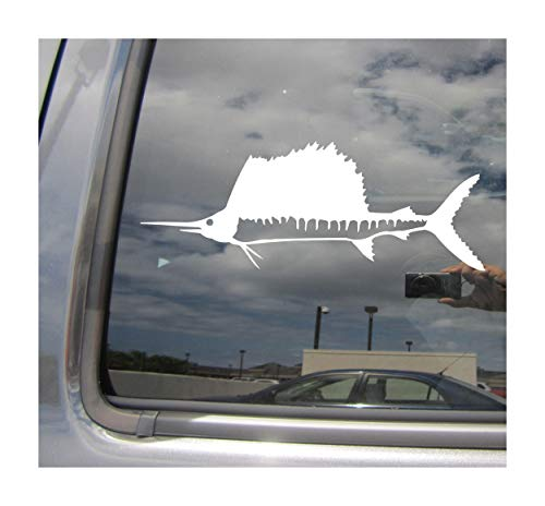 - Right Now Decals - Sailfish Fish - Big-Game Blue-Water Fishing Billfish Sport - Cars Trucks Moped Helmet Hard Hat Auto Automotive Craft Laptop Vinyl Decal Store Window Wall Sticker 04178