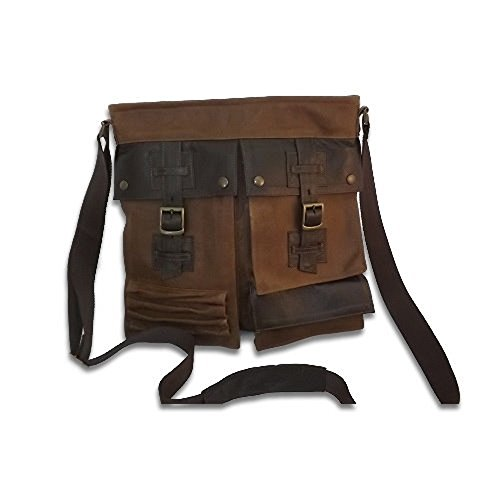 Borsa in pelle messenger Belst 014- Brown Vintage L35xH37xP6 cm