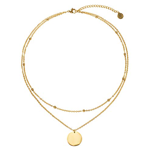 LEGITTA Disc Coin Charm Pendant Collar Necklace Layering Titanium Chain Layered Choker Gold Multiple Layers for Women Girls - Pendant Small Disc
