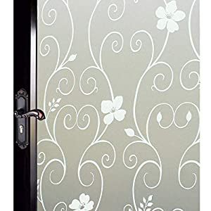 DUOFIRE Window Film Privacy Window Film Frosted Glass Film Static Cling Glass Film No Glue Anti-UV Window Sticker for Bathroom Bedroom Living Room (White Flower-DP014W, 35.4in. x 157.5in.)