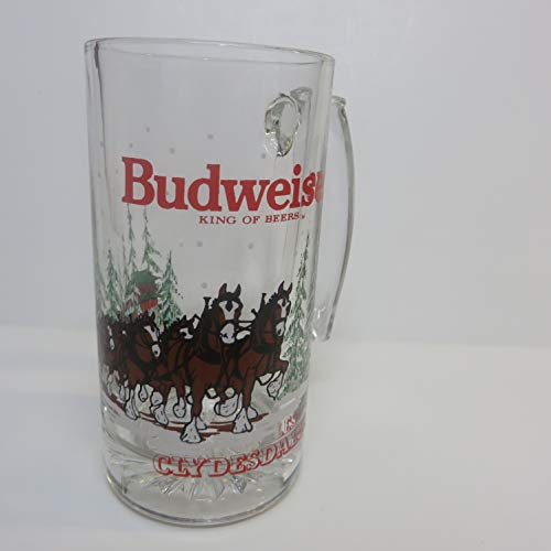 (Budweiser Clydesdales Beer Glass Mug 1989 Anheuser-Bush Inc)