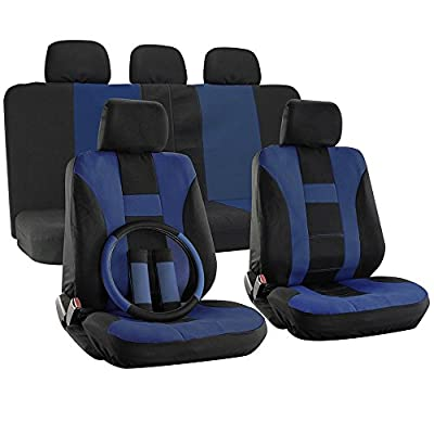 OxGord 17pc Set Flat Cloth Mesh H Stripe Seat Cover- Blue/ Black - Universal Fit for Car, Truck, SUV, or Van Steering Wheel Cover