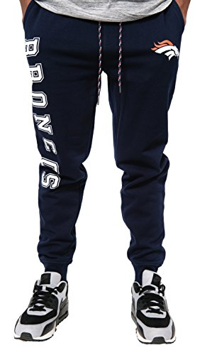 (NFL Denver Broncos Men's Jogger Pants Active Basic Fleece Sweatpants, X-Large, Navy)