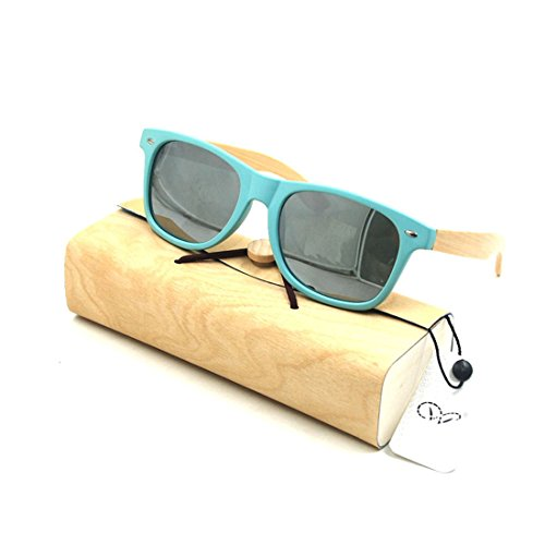 Plastic Bamboo Arms Sunglasses Silvery Polarized Lenses Green Men Women Sunglasses (Green, - Review Wood Sunglasses