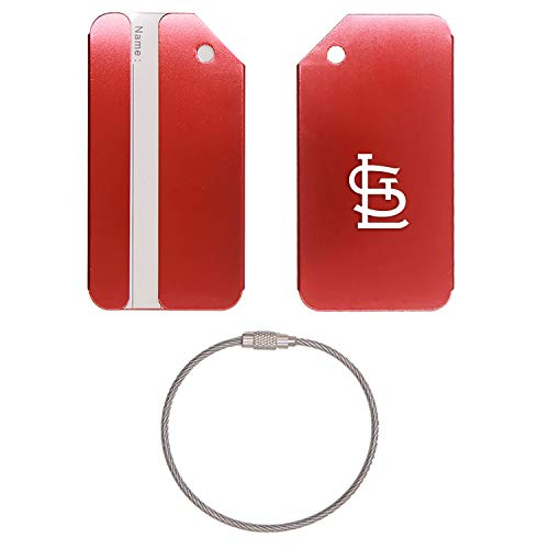 MLB St. Louis Cardinals logo 2 STAINLESS STEEL - ENGRAVED LUGGAGE TAG - SET OF 2 (SCARLET RED) - FOR ANY TYPE OF LUGGAGE, SUITCASES, GYM BAGS, BRIEFCASES, GOLF BAGS