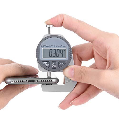 """厚さ計、デジタルLCD厚さ計ゲージ読み出しパーセンタイル厚さ計0〜12.7mm/0.5""""0.01mm/0.0005""""フラット測定ヘッド"""